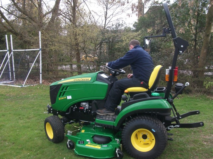 Site Manager Mr Kington enjoying his new tractor